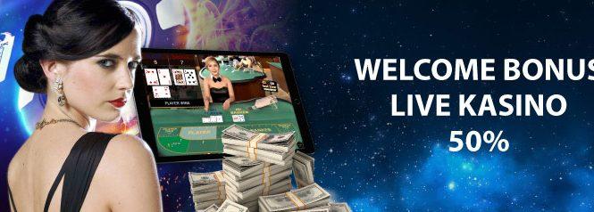 WELCOME BONUS LIVE KASINO – DAPATKAN BONUS 50% HINGGA IDR 1.000.000